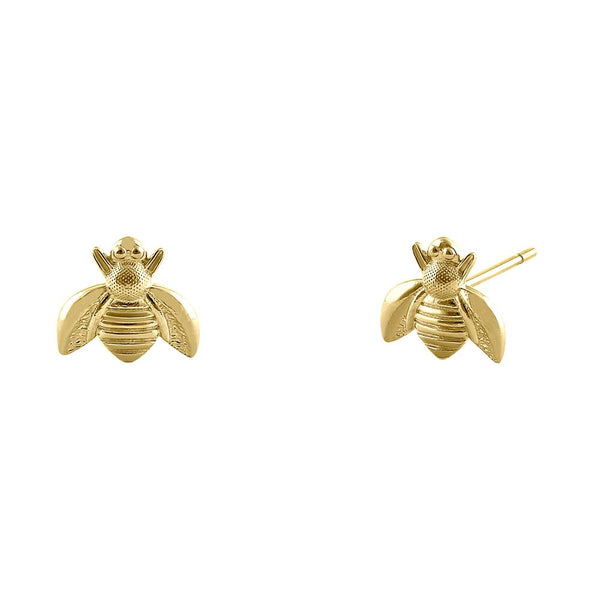 Solid 14K Yellow Gold Bee Earrings