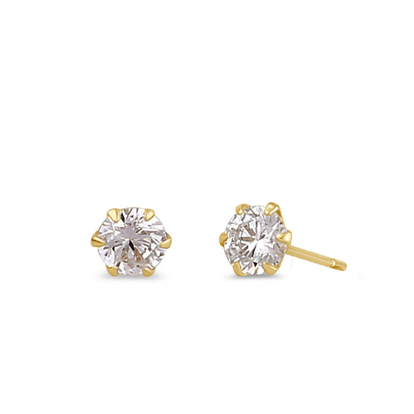.5 ct Solid 14K Gold 4.0mm Round CZ Earrings