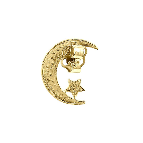 Solid 14K Yellow Gold Moon & Star Earrings