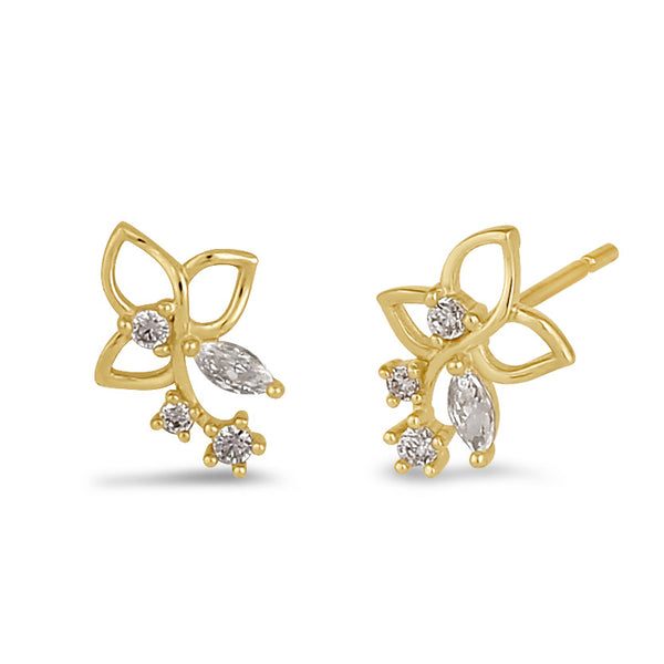 Solid 14K Gold Trillium with Clear CZ Earrings