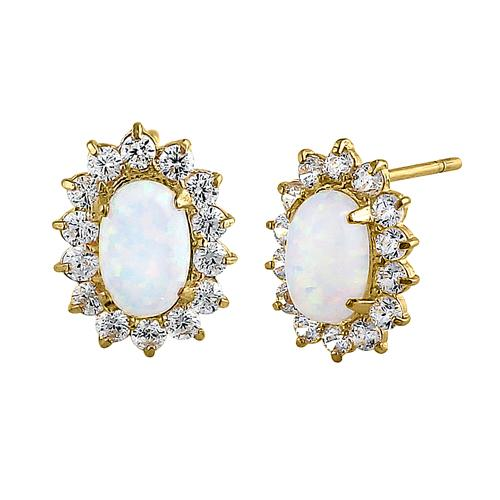 Solid 14K Yellow Gold Oval White Opal Halo Clear Round CZ Earrings