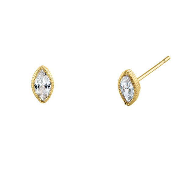 .5 ct Solid 14K Yellow Gold Marquise CZ Stud Earrings