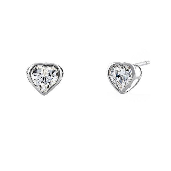 .5 ct Solid 14K White Gold 4mm Heart Cut Clear CZ Earrings