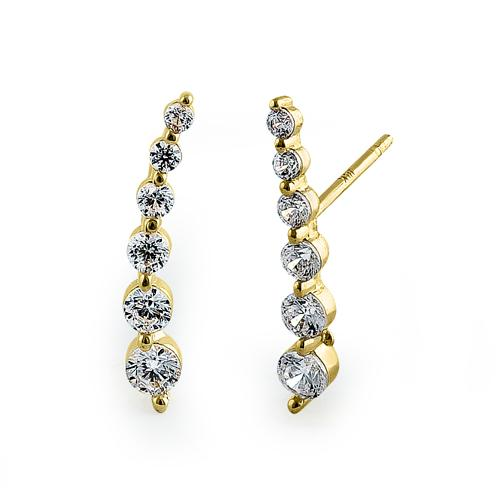 Solid 14K Yellow Gold Curved CZ Earrings