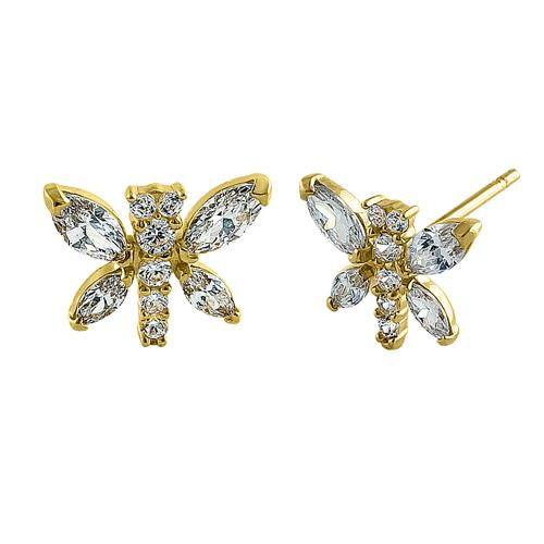 Solid 14K Yellow Gold Dragonfly CZ Earrings