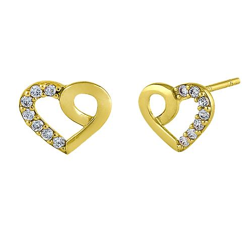 Solid 14K Yellow Gold Simple Heart Knot Clear Round CZ Earrings