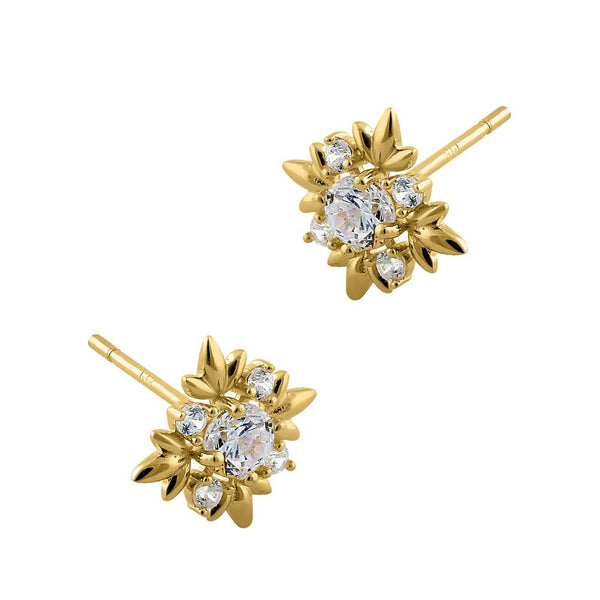 .22 ct Solid 14K Yellow Gold Round Star CZ Stud Earrings