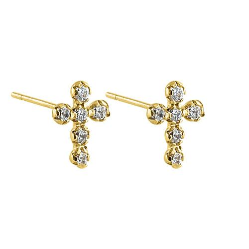 Solid 14K Yellow Gold Round Cross CZ Earrings