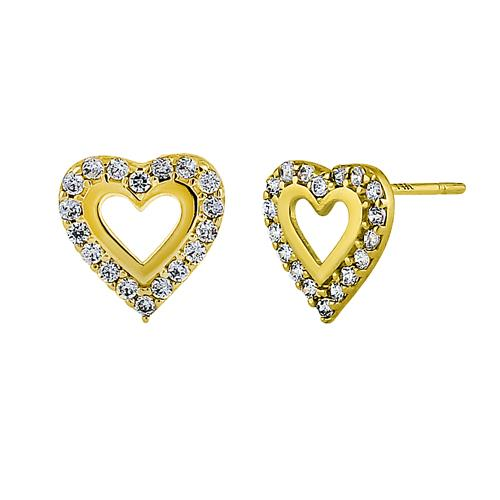 Solid 14K Yellow Gold Inner Heart Clear Round CZ Earrings