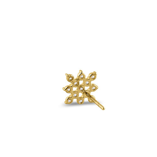 Solid 14K Yellow Gold Checkered CZ Earrings