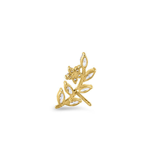 Solid 14K Yellow Gold Trendy Leaf CZ Earrings