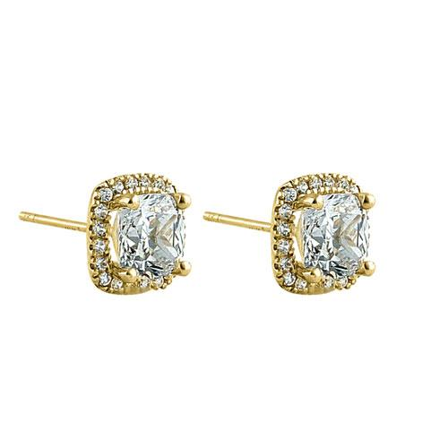 Solid 14K Yellow Gold Cushion Halo CZ Earrings