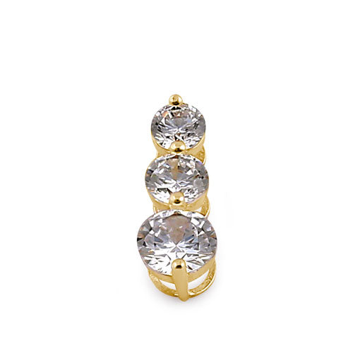 Solid 14K Yellow Gold Triple Tier CZ Pendant