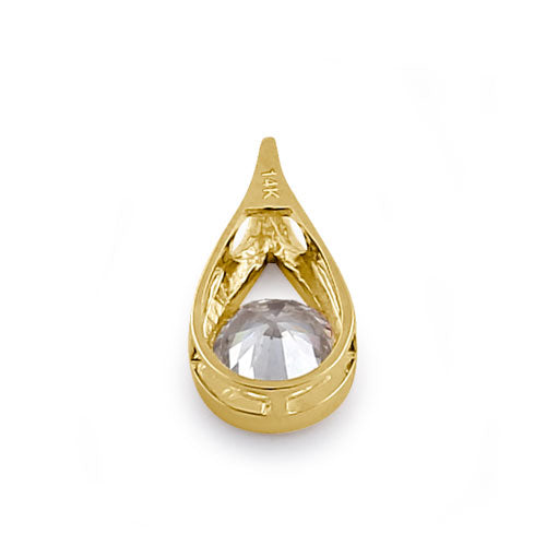Solid 14K Yellow Gold Round Drop CZ Pendant