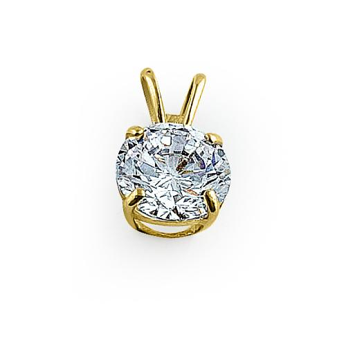 Solid 14K Yellow Gold 6MM Round CZ Pendant