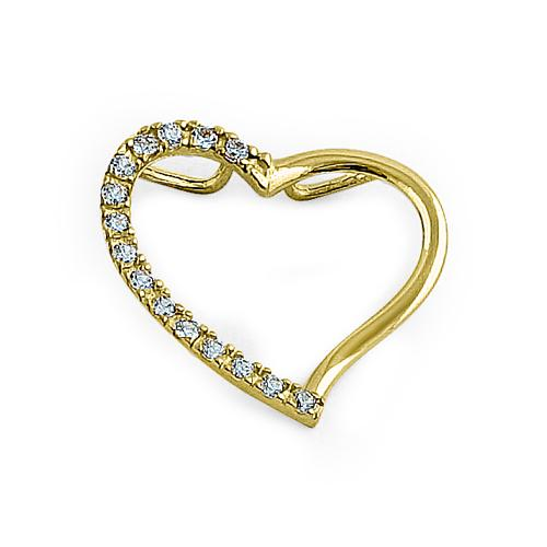 Solid 14K Yellow Gold Heart Accent Round CZ Pendant