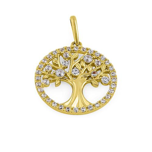 Solid 14K Yellow Gold Glitzy Tree of Life CZ Pendant