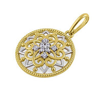 Solid 14K Yellow Gold Ornate Flower Shield CZ Pendant
