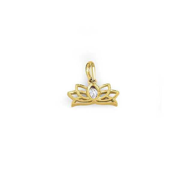 Solid 14K Yellow Gold Flower Crown Marquise CZ Pendant