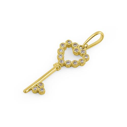 Solid 14K Yellow Gold Heart Key CZ Pendant