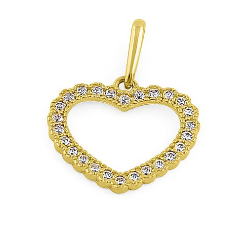 Solid 14K Yellow Gold Heart CZ Pendant