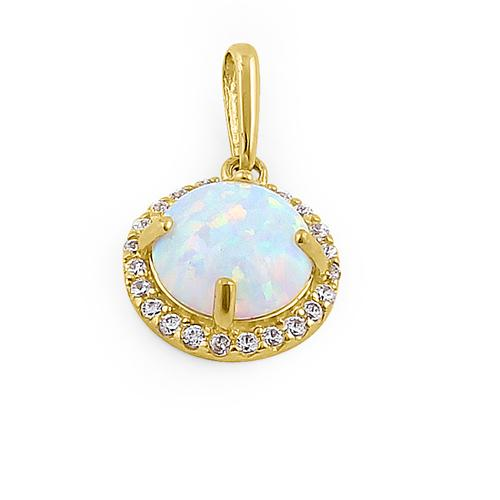 Solid 14K Yellow Gold Halo Oval White Lab Opal CZ Pendant