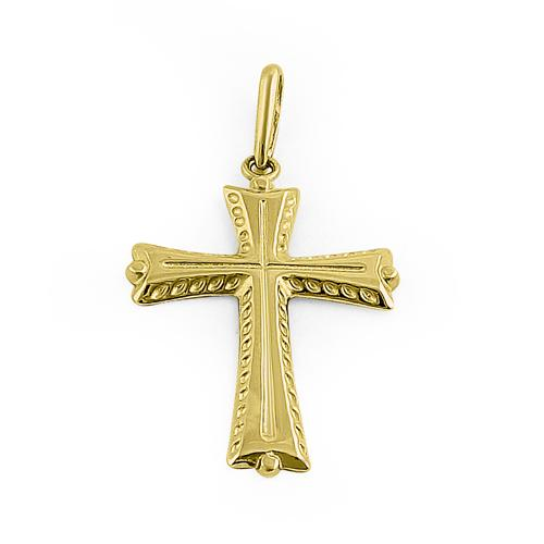 Solid 14K Yellow Gold Antique Cross