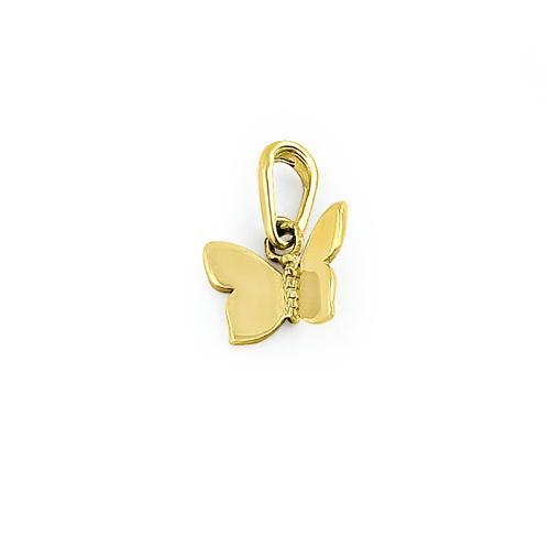 Solid 14K Yellow Gold Butterfly Charm Pendant