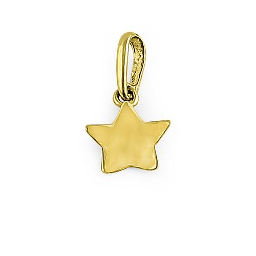 Solid 14K Yellow Gold Star Charm Pendant