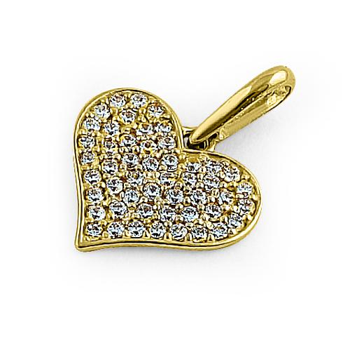 Solid 14K Yellow Gold Heart Pave Round CZ Pendant