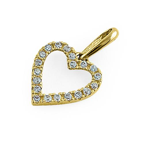 Solid 14K Yellow Gold Simple Heart Round CZ Pendant