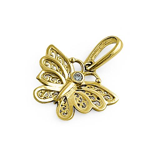 Solid 14K Yellow Gold Orchid Butterfly Round CZ Pendant