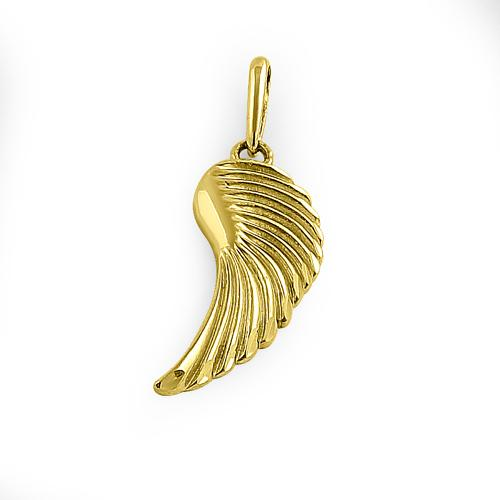 Solid 14K Yellow Gold Angel Wing Pendant