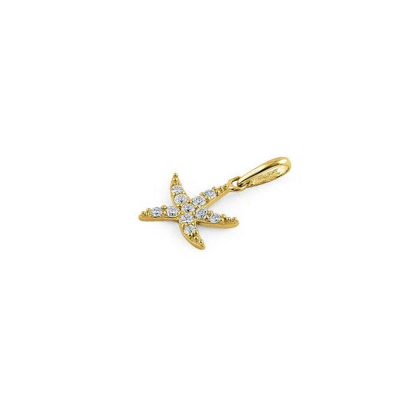 Solid 14K Yellow Gold Ocean Starfish CZ Pendant