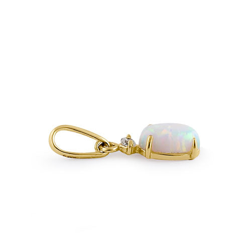 Solid 14K Yellow Gold White Opal and Clear CZ Oval Pendant