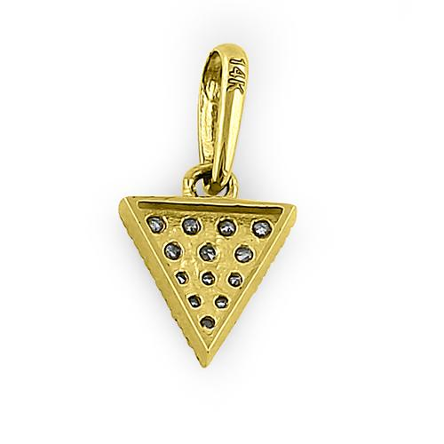 Solid 14K Yellow Gold Upside Down Triangle CZ Pendant