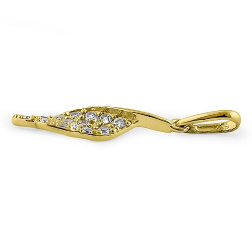 Solid 14K Yellow Gold Leaf CZ Pendant