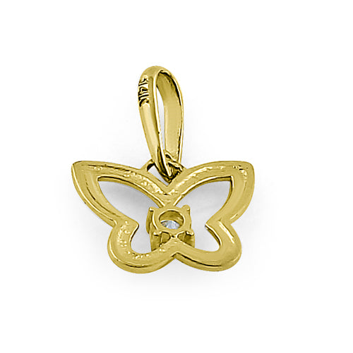 Solid 14K Yellow Gold Butterfly Outline CZ Pendant