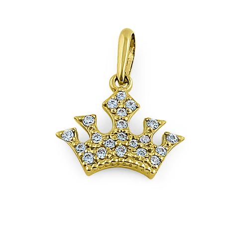 Solid 14K Yellow Gold Queen's Crown CZ Pendant