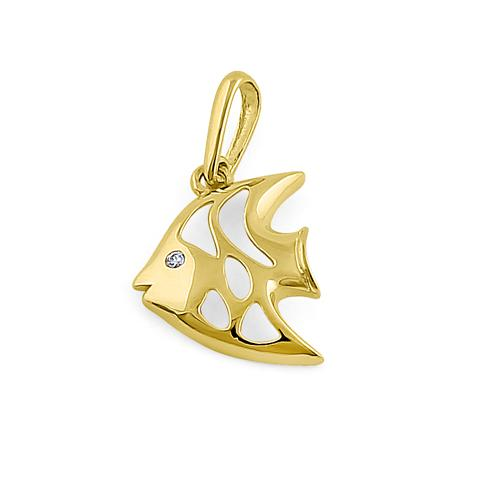 Solid 14K Yellow Gold Angelfish CZ Pendant
