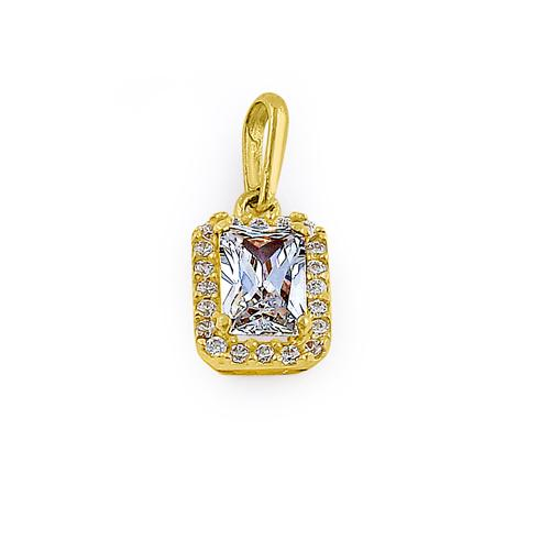 Solid 14K Yellow Gold Halo Emerald Cut CZ Pendant