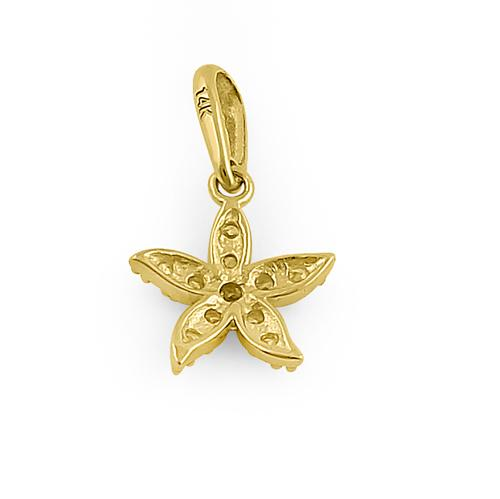 Solid 14K Yellow Gold Starfish CZ Pendant