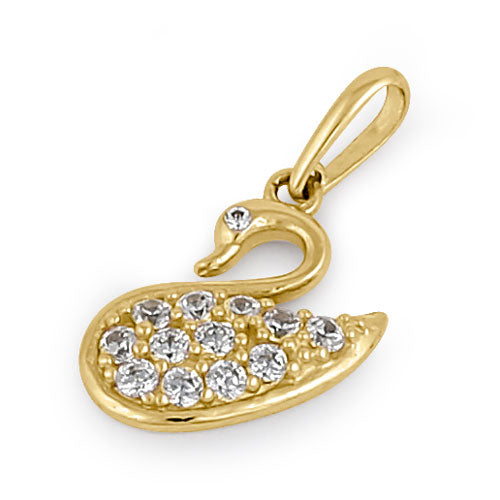 Solid 14K Yellow Gold CZ Swan Pendant
