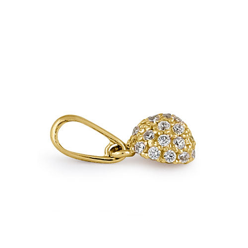 Solid 14K Yellow Gold CZ Ball Pendant