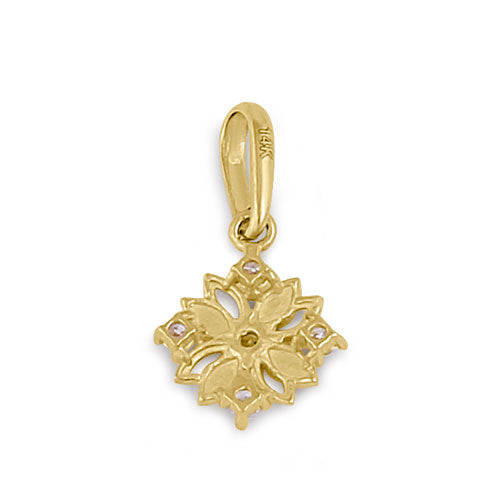 Solid 14K Yellow Gold CZ Flower Pendant