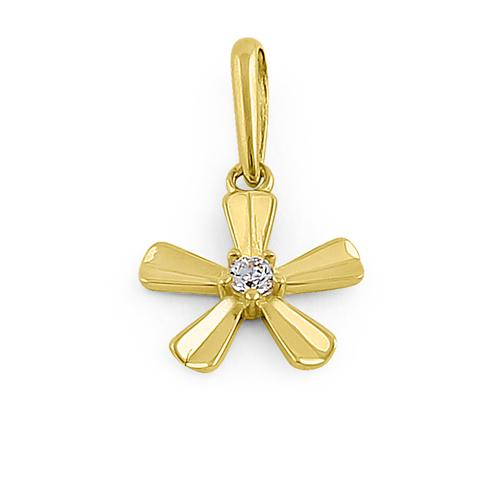Solid 14K Yellow Gold Groovy Flower CZ Pendant