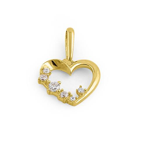 Solid 14K Yellow Gold Asymmetrical Heart CZ Pendant