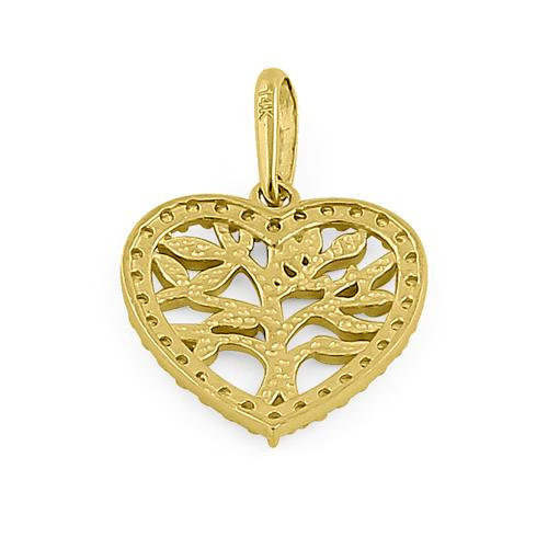Solid 14K Yellow Gold Heart Tree of Life CZ Pendant