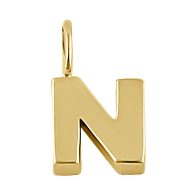 Solid 14K Gold N Initial Pendant