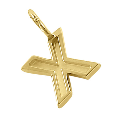 Solid 14K Gold X Initial Pendant